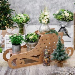 Christmas Florist Sundries and Decorations - Starry Sleigh Christmas Display Stand