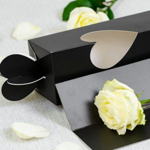 Florist Sundries & Craft Supplies - Luxury Black Rose Carrier with Heart Window Display Box