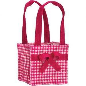 Florist Sundries and Craft Supplies - Pink Dainty Bow Jute Plant Bag
