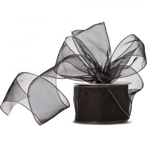 Florist Sundries and Craft Supplies - 20m reel of 60mm Ebony Black Wired Edge Organza Ribbon