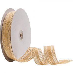 Trade Only Florist Sundries and Craft Supplies - 15m Reel of 25mm Naturelle Double Stitch Jute Ribbon