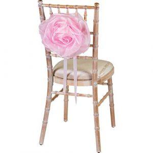 Florist Sundries and Wedding Supplies - Large Pink Organza Flower Chair Tie