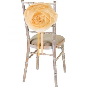 Florist Sundries and Wedding Supplies - Large Champagne Organza Flower Chair & Car Tie