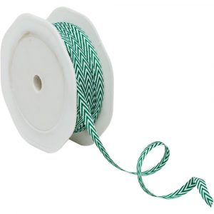 Trade Only Florist Sundries and Wholesale Supplies - 6m reel of 6mm Fern Green Chevron Ribbon