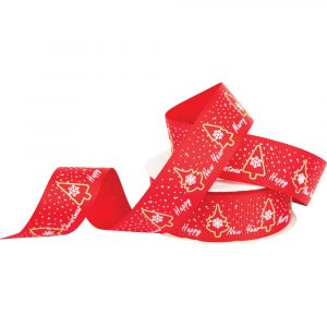 Trade Only Christmas Florist Sundries and Wholesale Supplies - 10m Reel of 25mm Wide Good Wishes Grosgrain Ribbon
