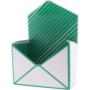 Trade Only Christmas Florist Sundries and Wholesale Supplies - Envelope Gift Box in White & Green