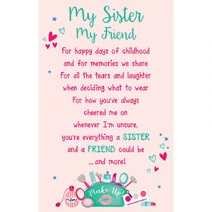 Sister Plastic Wallet Keepsake Card
