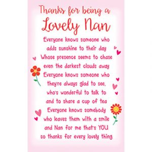 Nan Plastic Wallet Keepsake Card