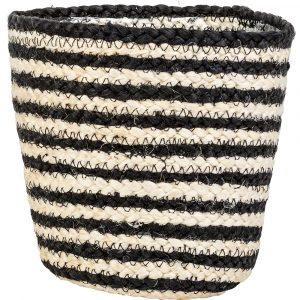 Florist Sundries and Craft Supplies - Black & White Plait Striped Plant Pot