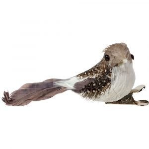 Christmas Florist Sundries and Decorations - Clip-On Grey & White Bird