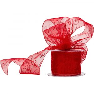 Valentines Florist Sundries and Craft Supplies - 60mm Crazy Love Red Wired Edge Organza Ribbon 15m Reel