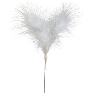 Florist Sundries and Craft Supplies - White Fluffy Feather Pick