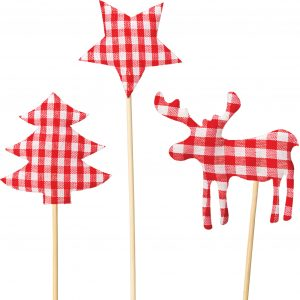Christmas Floristry Picks - Set of Merry Gingham Picks