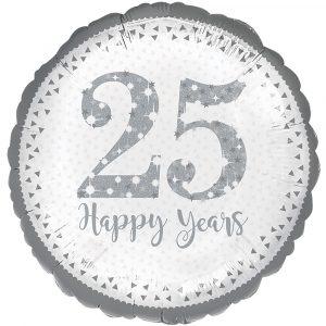 Florist Sundries & Supplies - Sparkling 25th Silver Anniversary Helium Balloon