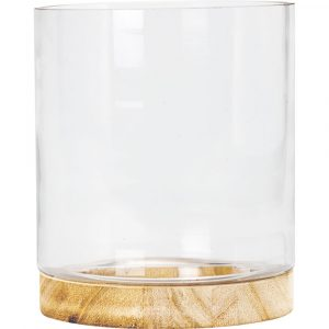 Trade Only Florist Sundries and Wholesale Supplies - Contemporary Glass Vase On Wooden Base