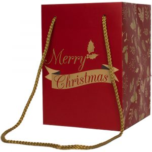 """Trade Only Christmas Florist Sundries and Wholesale Supplies - """"Merry Christmas"""" Jolly Holly Tall Gift Bag"""