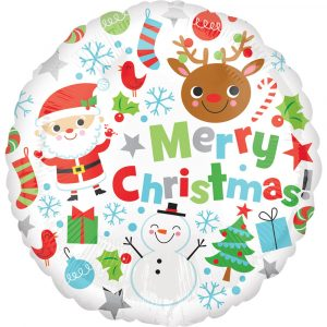 Trade Only Christmas Florist Sundries and Wholesale Supplies - Merry Christmas Icons Foil Helium Balloon