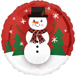 Trade Only Christmas Florist Sundries and Wholesale Supplies - Smiley Snowman Foil Helium Balloon