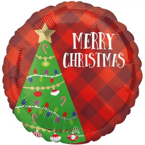 Trade Only Christmas Florist Sundries and Wholesale Supplies - Plaid Festive Christmas Tree Foil Helium Balloon