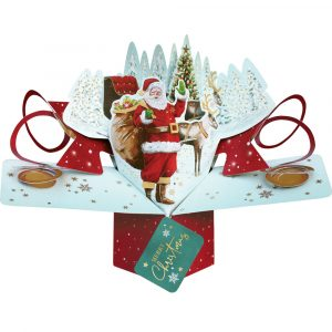 Trade Only Christmas Florist Sundries and Wholesale Supplies - Father Christmas & Sleigh 3D Pop-Up Card by Second Nature