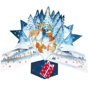 Trade Only Christmas Florist Sundries and Wholesale Supplies - Winter Woodland Animals 3D Pop-Up Card by Second Nature
