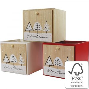 Trade Only Christmas Florist Sundries and Wholesale Supplies - Winter Tree Trio Wooden Cube Planter - Natural, White & Red